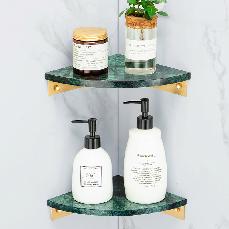 Solid Brass Bathroom Accessories Marble Bathroom Shelf Brushed Gold Shower Basket  Hair Dryer Holder Wall Shampoo Rack Shelf