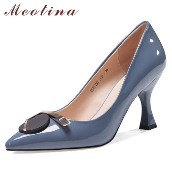 Meotina High Heels Women Pumps Natural Genuine Leather Kitten High Heel Party Shoes Cow Leather Pointed Toe Shoes Ladies Size 39