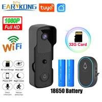 비디오 초인종 카메라 와이파이 TuyaSmart 1080P HD 보안 카메라 앱 인터콤 야간 투시경 충전식 배터리 무선 벨
