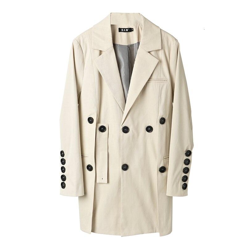 [EAM] Loose Fit Button Split Temperament Jacket New Lapel Long Sleeve Women Coat Fashion Tide Spring Autumn 2020 JQ29000 7