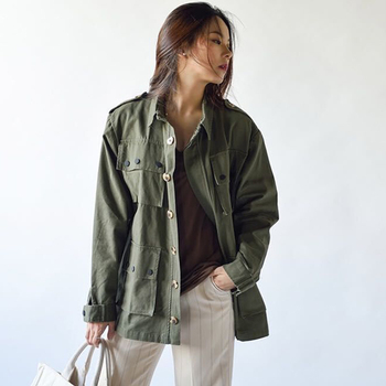2020 Woman Spring Green Jacket Streetwear Long Sleeve Turn-down Collar Wide-waisted Single Breasted Cotton Jeans Jacket Women spring men long sleeve turn down collar single breasted shirts camisa solid color oxford pure cotton slim fit vestido shirts