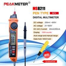 프로브가있는 디지털 멀티 미터 acv/dcv 전기 핸드 헬드 테스터 멀티 테스터 휴대용 멀티 미터 ms8211 peakmeter