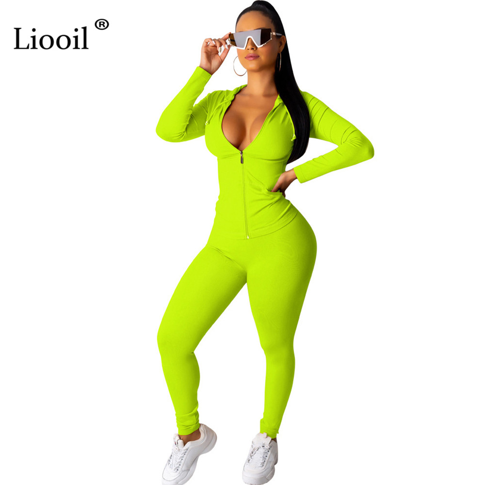Liooil Neon Green Orange Women Two Piece Outfits Tracksuit Fall 2019 Long Sleeve Hooded Zip Up Sweatshirt Sweatpants Suit Set