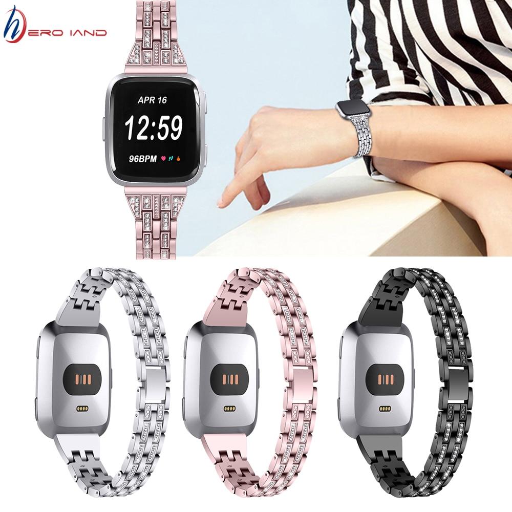 Metal Watch Bands For Fitbit Versa/Versa Lite & SE/ Versa 2 Stainless Steel Strap Bling Diamond Bracelets Wristbands Woman Girls