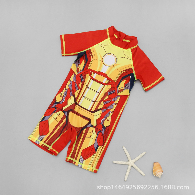 2019 New Style CHILDREN'S Swimwear Cartoon Iron Man Boy One-piece Boxer Quick-Dry Diving Suit Infants Swimwear