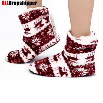 Winter Fur Slippers Women Warm House Plush Flip Flops Christmas Cotton Indoor Home Shoes Soft Floor Female Flats - discount item  5% OFF Women's Shoes