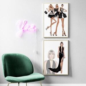 Модный Манекен для девочек, платье, юбка, Картина на холсте, скандинавские постеры и печать, настенные картины для гостиной, магазина, Декор