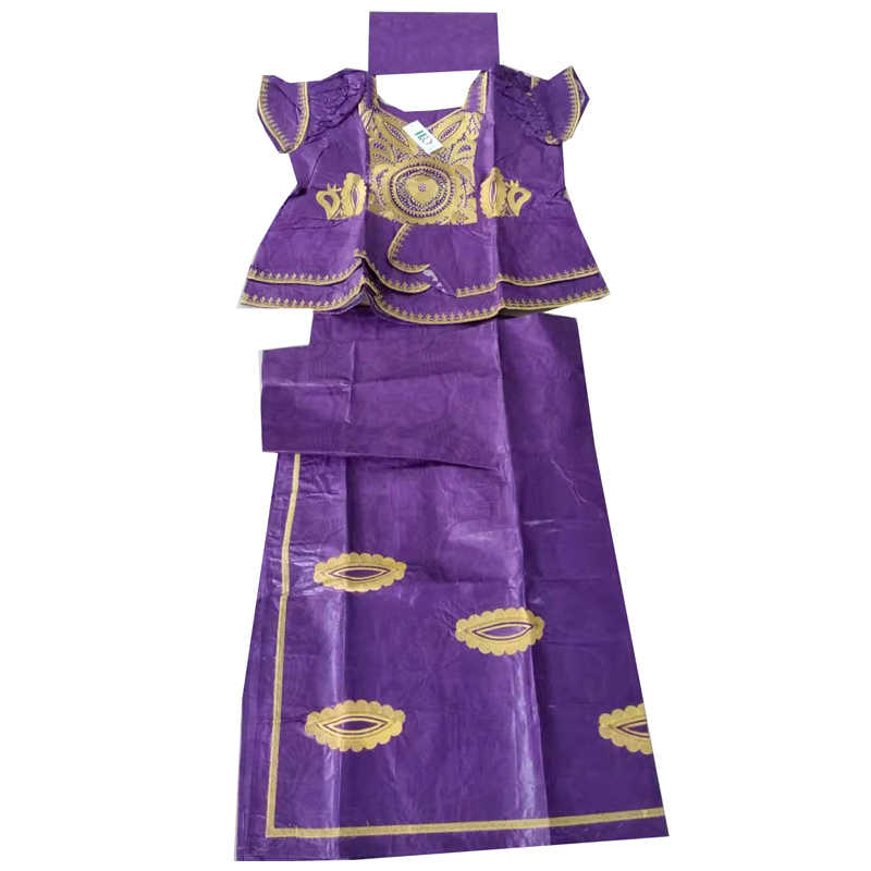 MD אפריקאי bazin שמלות עם חצאית סטי אפריקה סגנון נשים בגדים אפריקאים רקום נשים שמלת טורבן אפריקאי ראש כורכת