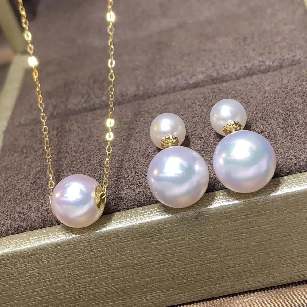 D322 Pearls Sets Fine Jewelry Solid 18K Gold Natural 7-10mm Fresh Water White Pearls Female's Jewelry Sets