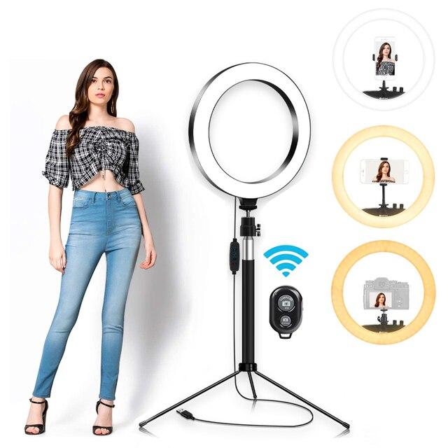 6/8/10 Inch Ring Light con supporto treppiede LED Circle Lights supporto per telefono per fotocamera Selfie fotografia trucco Video illuminazione dal vivo