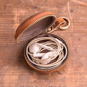 Кошелек для монет из натуральной кожи, винтажный, ручной работы, маленький Apple Airpods, чехол для наушников, держатель для кабеля, брелок для ключей, чехол, сумка