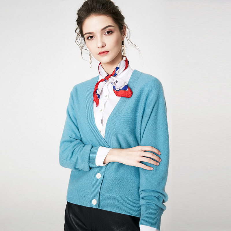 Chandails en cachemire bleu pull mignon femmes Cardigans vêtements d'hiver coréen pull tricoté à manches longues col en V laine tricot Cardigan