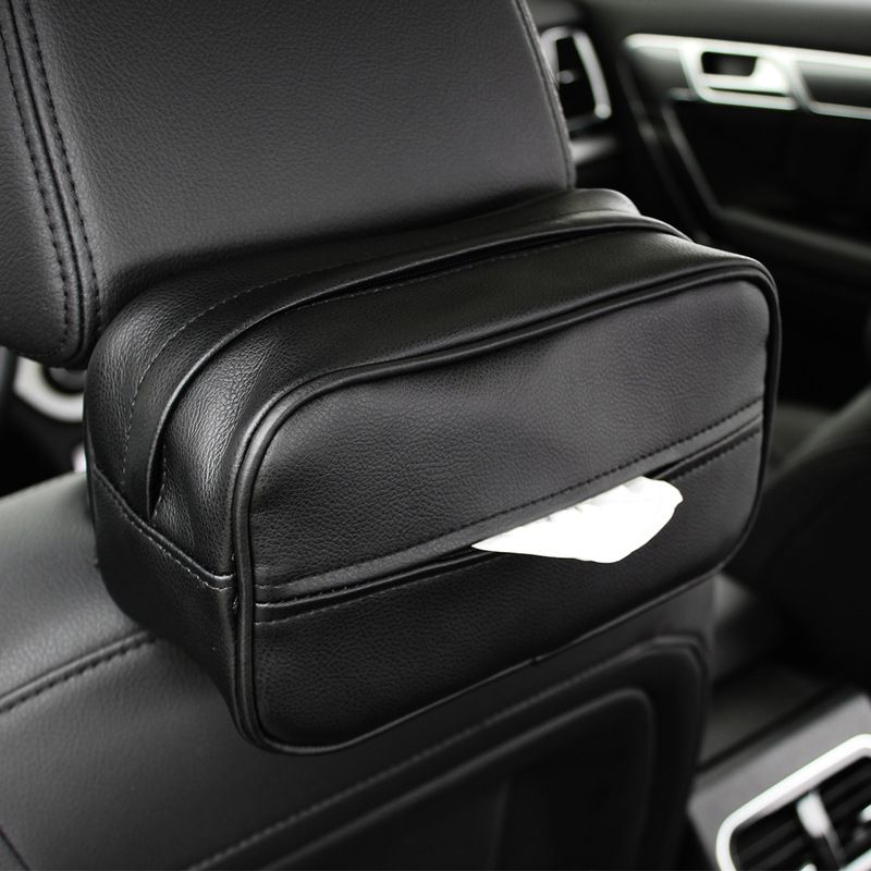 Car Mounted Tissue Box Leather PU Car Creative Hanging Paper Extraction Box Drawing Paper Bag Multi-functional Car Hanging Tissu