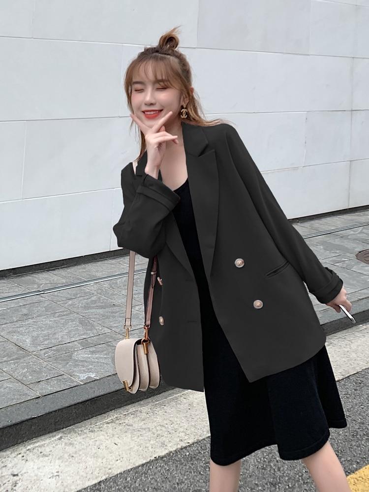 Retro Red Casual Ladies Blazer Stylish Long Sleeve Loose Suit Jacket Blazzer Mujer Korean Spring Autumn Women Blazer New MM60NXZ