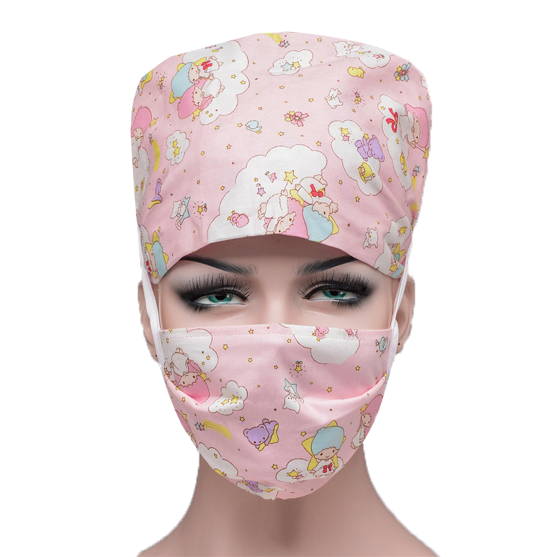 Hospital Surgical Scrubs Hats Mask Sets Adjustable Cotton Cotton Caps Doctor Nurse Nursing Pharmacy Dentistry Caps Mouth Mask