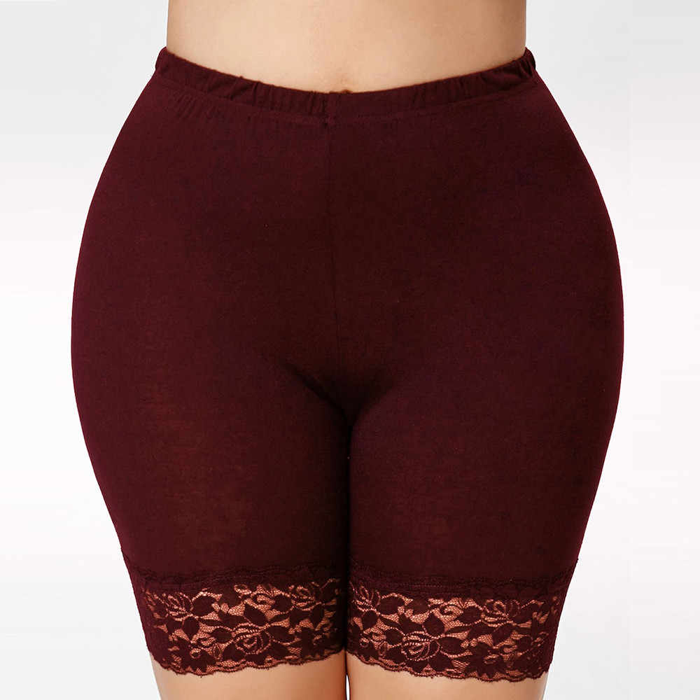 Plus Size Effen Kleur Kant Patchwork Shorts Vrouwen Mid Taille Hot Elastische Sport Korte Slim Fit Basic Oversized Veiligheid Korte # D