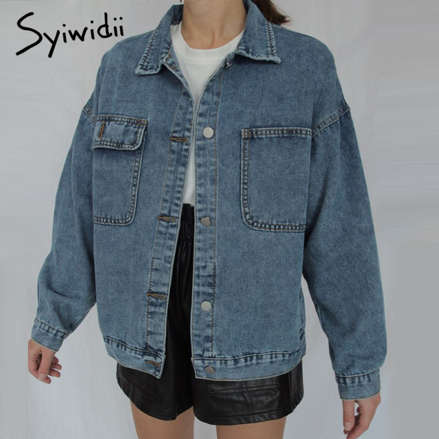 Syiwidii Jean Jacket Women Clothes Oversized Jeans Denim Coat Korean Coats Spring Fall 2021 New Jackets for Women Solid Casual 1
