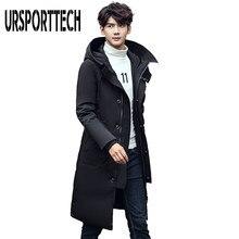 URSPORTTECH 2019 شتاء دافئ طويل أسفل سترة الرجال ملابس كاجوال أبلى مقنعين أسفل السترات الذكور سميكة أسفل معطف حجم كبير 5XL