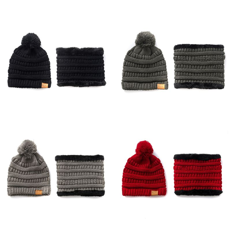 Unisex Adult Toddler Kids Winter Beanie Hat Scarf Set Chunky Cable Knit Pompom Cap Thicken Plush Lined Circle Loop Neck Warmer