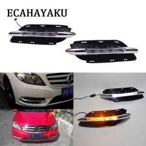 ECAHAYAKU 1 пара Автомобильный светодиодный дневный ходовой светильник DRL для BENZ W246 B180 B200 2011 2012 2013 Дневной светильник противотуманный светильник...
