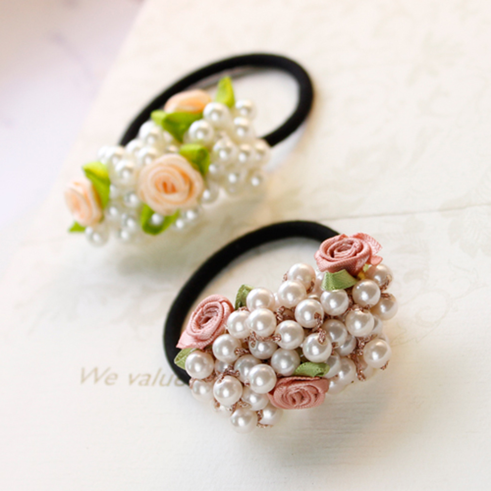 1Pcs Fashion Pearl Elastic Hair Bands Multilayer Hair Ring Ponytail Holder Scrunchies  Rubber Band  Women Girl Hair Accessories