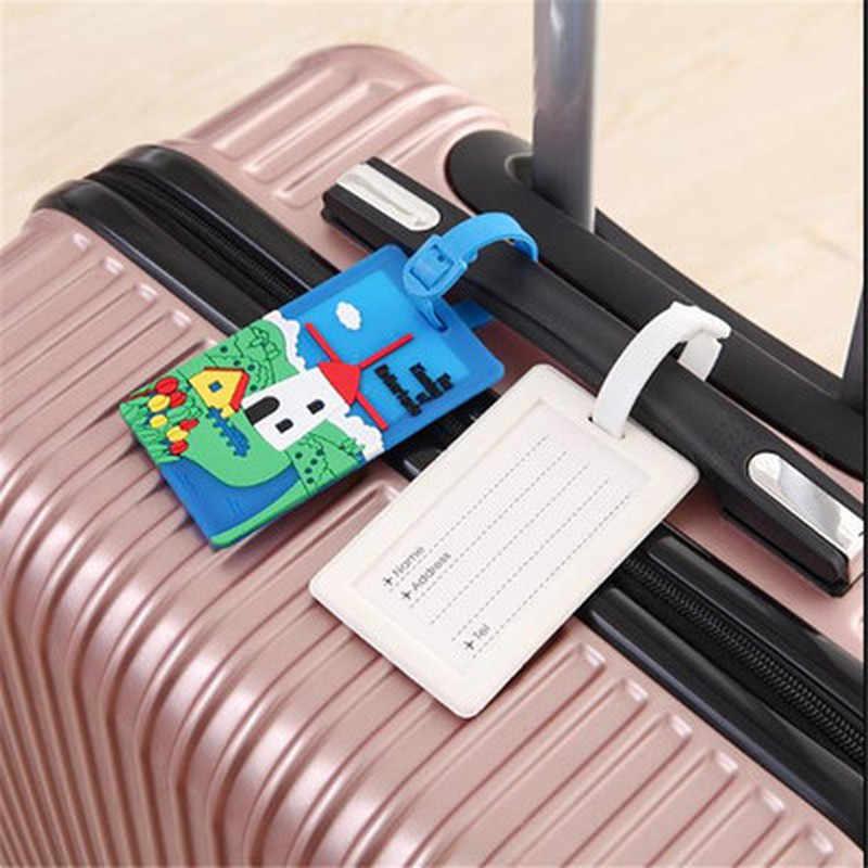 1 stücke Kreative Gepäck Tag Tier Cartoon Silica Gel Koffer ID Addres Halter Gepäck Internat Tags Tragbare Label