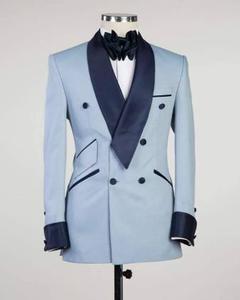 Image 3 - Pupular Mantel Hose Designs Licht Blau Casual Benutzerdefinierte Jacke Männer Anzüge Slim Fit 2 Stück Smoking Qualität Terno Masculino