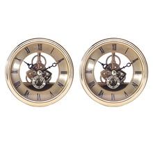 2Pcs 97mm Dial Bezel Metal Chromed Gold Clock Watch Insert Quartz Movement DIY