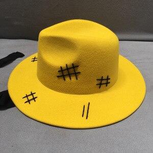 Image 3 - Sombrero de fieltro de lana para hombre y mujer, sombrero de fieltro de lana amarilla, de ala ancha, informal, negro, con cordones, para Otoño e Invierno