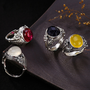 Image 2 - V.YA النساء الحجر الطبيعي حلقة مفتوحة 925 فضة مجوهرات شبه حجر كريم و Marcasite حجر خواتم الإناث السيدات الهدايا