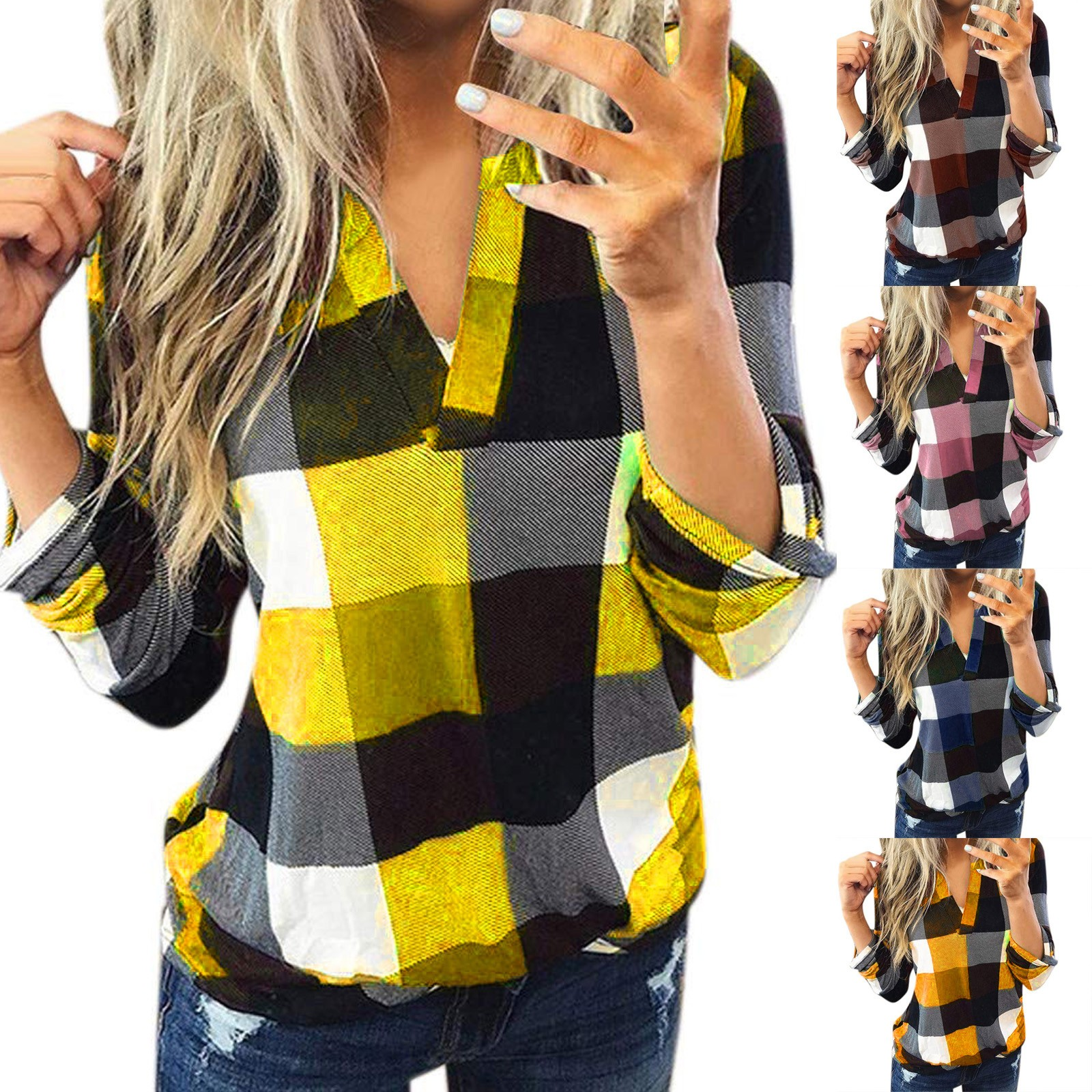 Laamei Mode Marke Kariertes Hemd Frauen Herbst 2020 Winter Warm Up Bluse Femme V ausschnitt Lose Blusa Gitter Druck Stil tops|Blusen & Hemden|   -
