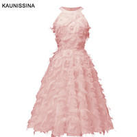 KAUNISSINA robe de Cocktail Dresses Elegant Party Gown Halter Neck Sleeveless Pink Red A Line Short Vestidos Homecoming Dress