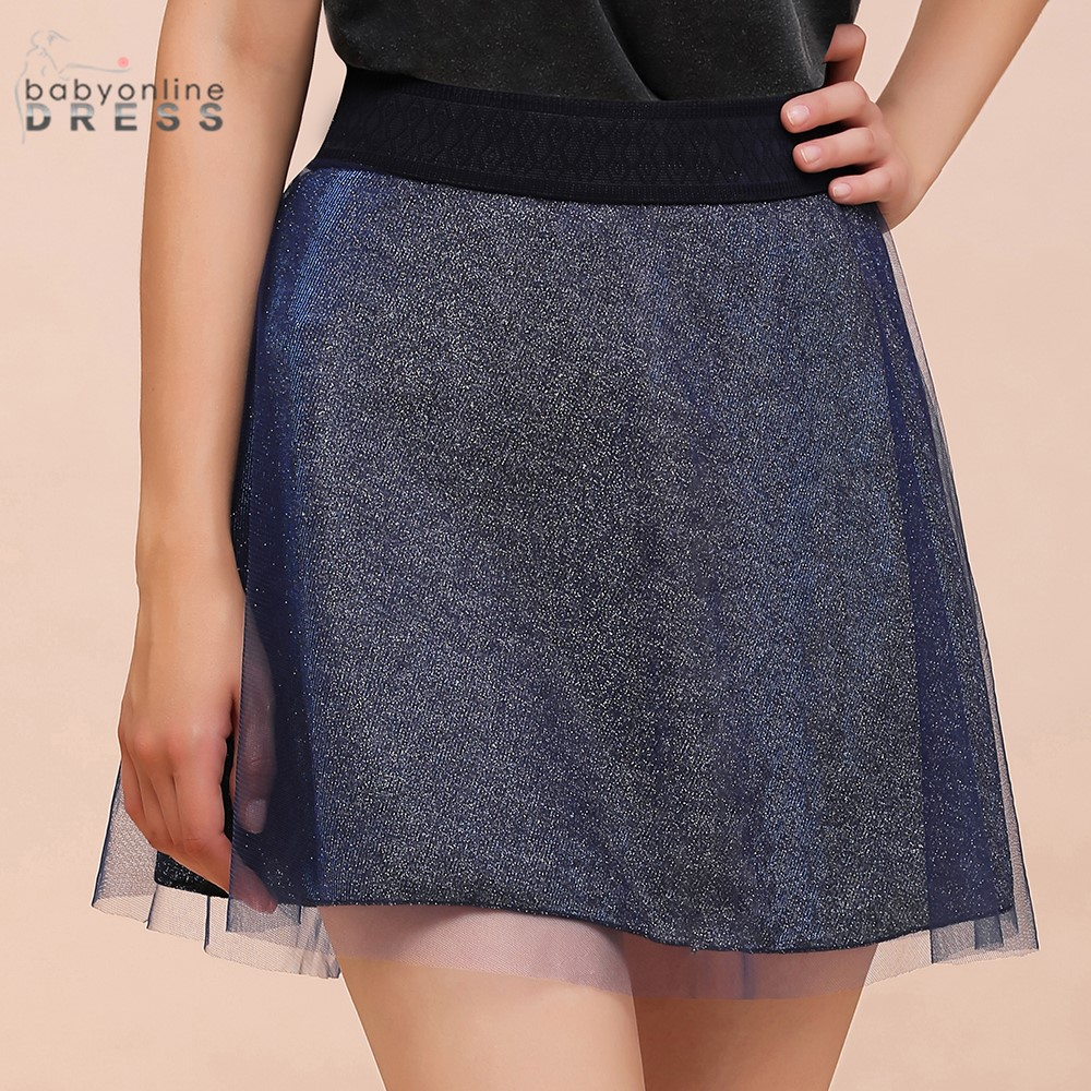 2020 New Arrival Two Layers Mini Skirts Womens Tulle Flexible Dark Navy Blue Short Skirt Above Knee Юбка Женская