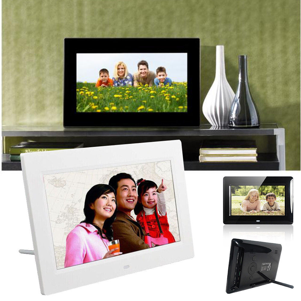 Digital Picture Frames 15 Inches Multi-Function TFT LCD Digital Photo Frame Electronic Picture Frame with MP3 MP4 Player Remote Control Multiple Functions Color : White