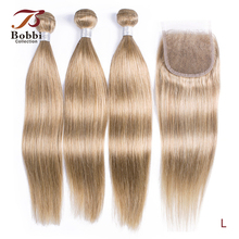 Human-Hair Closure-Color Ash-Blonde Bobbi-Collection Lace 2/3-Bundles Straight with Closure-color/8/Ash-blonde/..