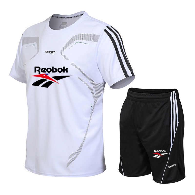 Erkek spor tişört koşu spor gömlek kısa kollu futbol basketbol tenis gömlek çabuk kuruyan spor spor seti takım elbise