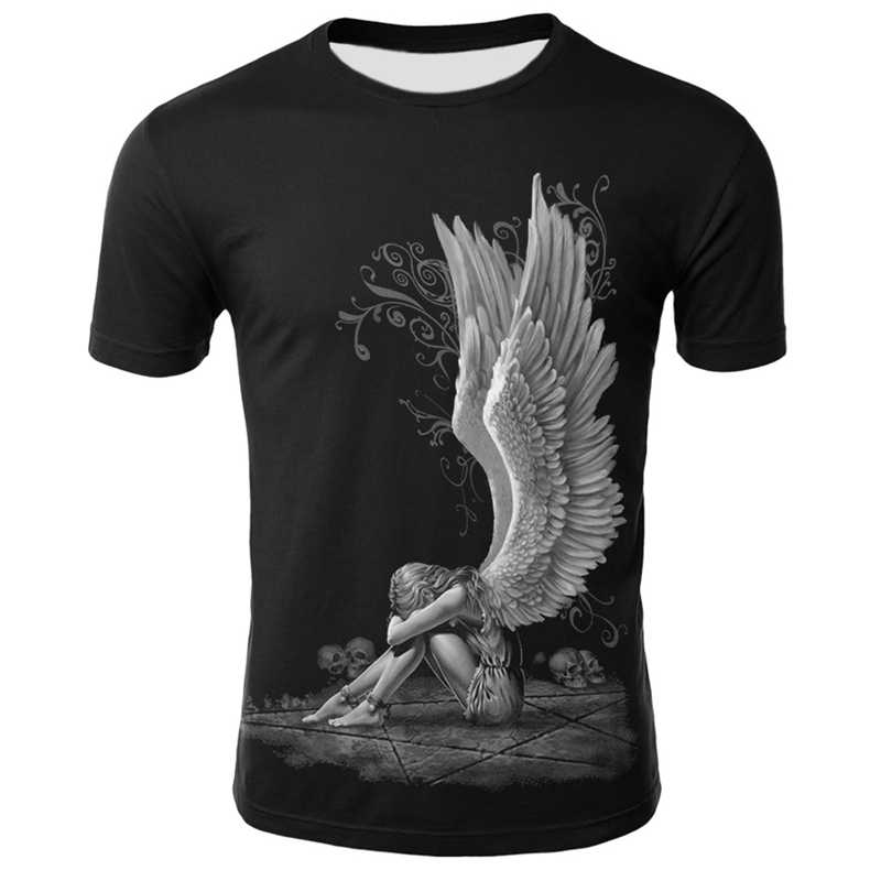 3D Angel T Shirt Men Punk O Neck Black Short Sleeve Summer Funny Wings Print T shirt Men Women Hip Hop Skull Tshirt Streetwear