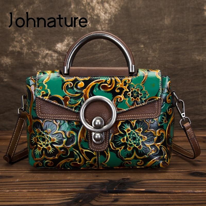Johnature Retro Genuine Leather Small Women Bag Luxury Handbags 2020 New Handmade Embossing Leisure Shoulder & Crossbody Bags
