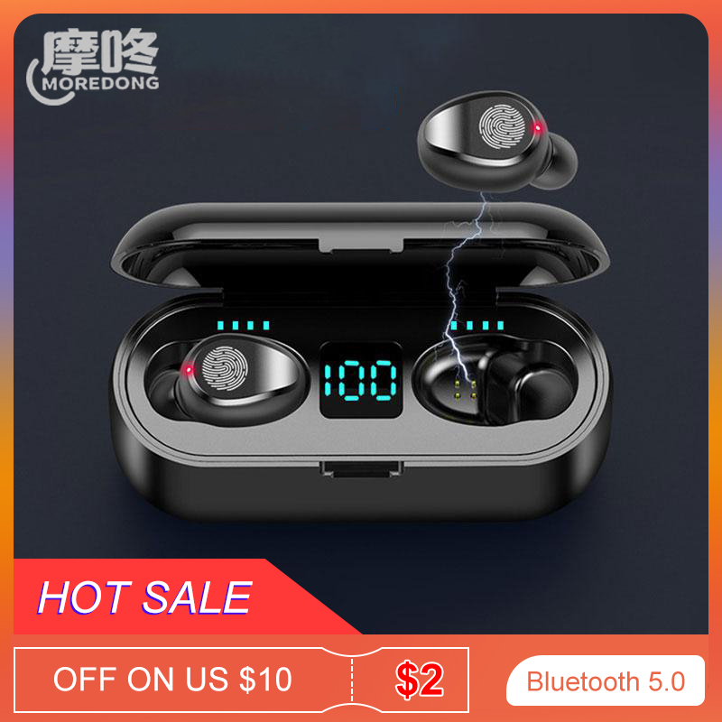 MOREDONG TWS Bluetooth 5.0 Noise Cancel Earbuds Touch Control Headphones Waterproof Wireless Earphones with 2000mAh Charging Box image