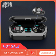MOREDONG TWS Bluetooth 5.0 Noise Cancel Earbuds Touch Control Headphones Waterpr