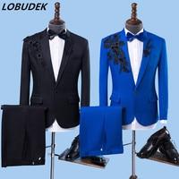 Formal Men's Suit Wedding Suits Groom Banquet Dress Chorus Tuxedo Performance Costume Black Blue Applique Blazers Pants Slim Set