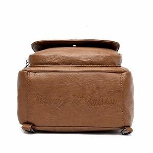 Image 4 - Women Leather Backpacks High Quality Mochila Feminina  Multifunction Backpack For Girls Solid Vintage Bagpack Ladies Back Pack