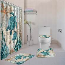 Sea Turtle Shower Curtain Sets with Non-Slip Rugs,Toilet Lid Cover and Bath Mat, Nautical Ocean Shower Curtains with 12 Hooks(China)