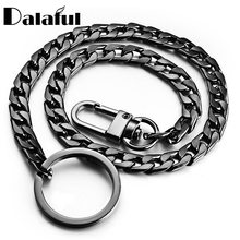 40cm Key Chains Metal Wallet Belt Chain Trousers Hipster Pants Hip Hop Rock Punk Street Keyring Anti-lost Keychain Men K404(China)