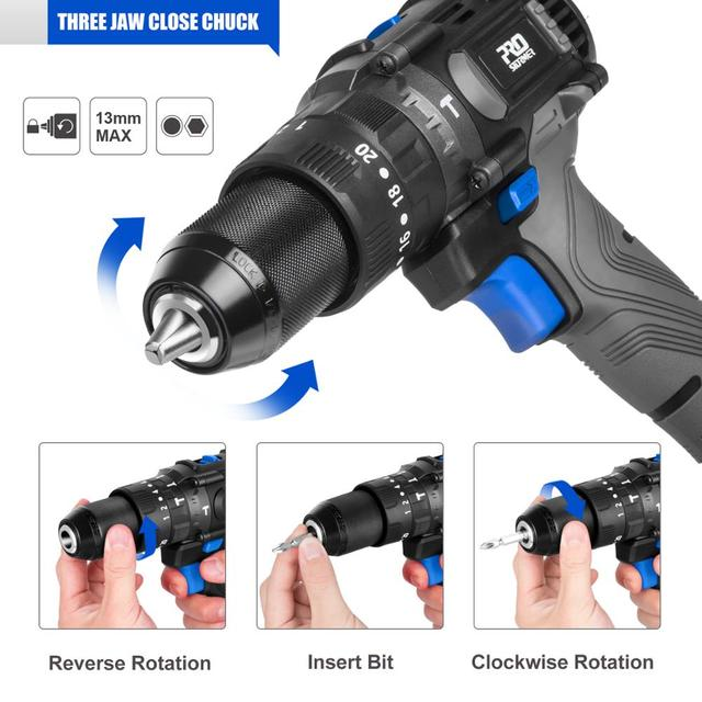 Brushless Hammer Drill 60NM Impact Electric Screwdriver 3 Function 20V Steel / Wood / Masonry Tool Bare Tool By PROSTORMER 4
