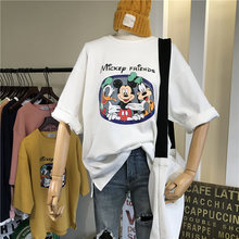 Cotton Basic T Shirt Women 2020 Spring Thick Cartoon Print Tee Unisex Teens Short Sleeve Solid Loose Casual Tee Shirt White(China)