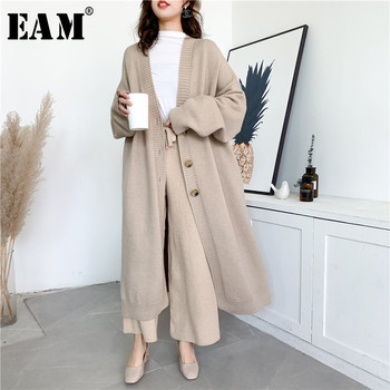 [EAM] Gray Big Size Long Knitting Cardigan Sweater Loose Fit V-Neck Long Sleeve Women New Fashion Tide Autumn Winter 2021 Y204 1