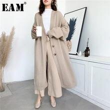 [Eam] グレービッグサイズロングニットカーディガンセータールーズフィットvネック長袖女性新ファッション潮秋冬2021 Y204