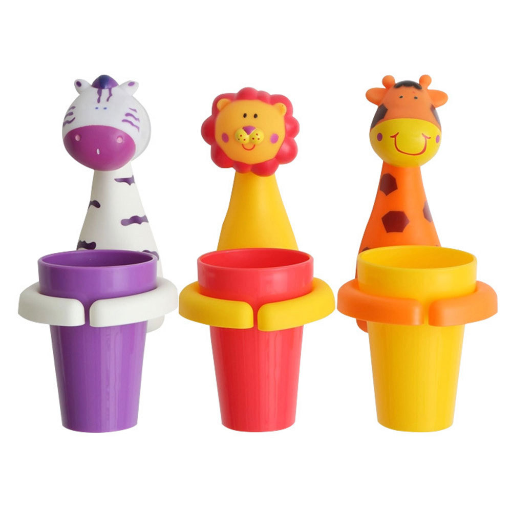 Creative Suction Cup Toothbrush Holder Baby Children Kids Toothbrush Sucker Cute Animal Giraffe Pig Dental Care Cup image