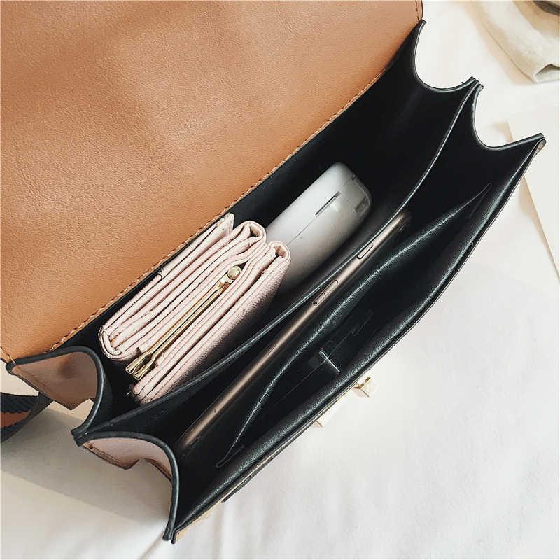 תיק אופנה קטן כתף תיקי נשים 2020 עור מפוצל Crossbody תיק יד נשים באיכות גבוהה תיק שרשרת מסמרת קישוט
